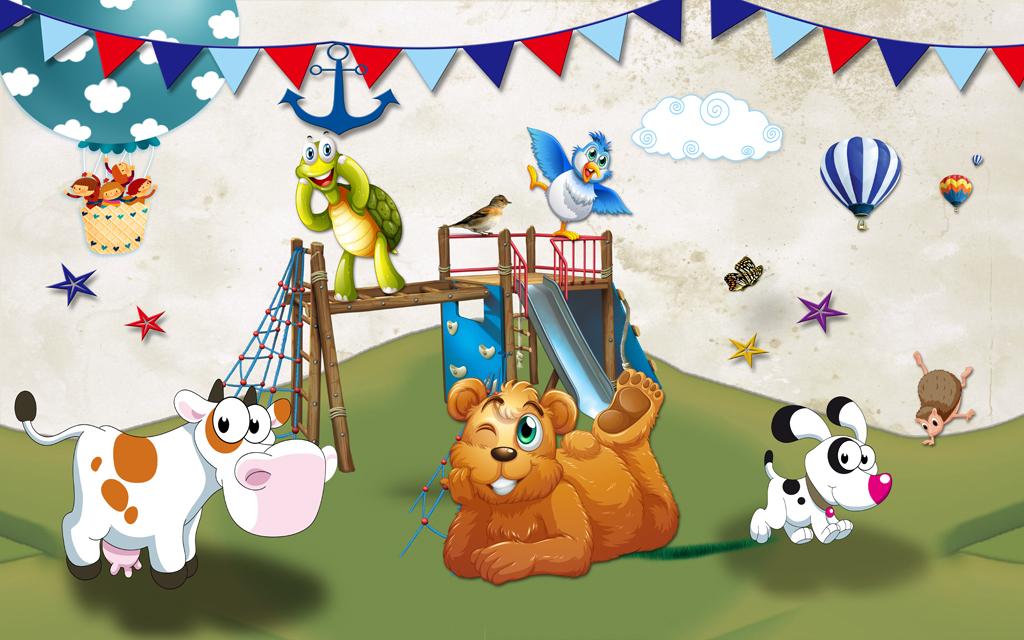 唯美卡通儿童房动物乐园小孩房背景墙壁画