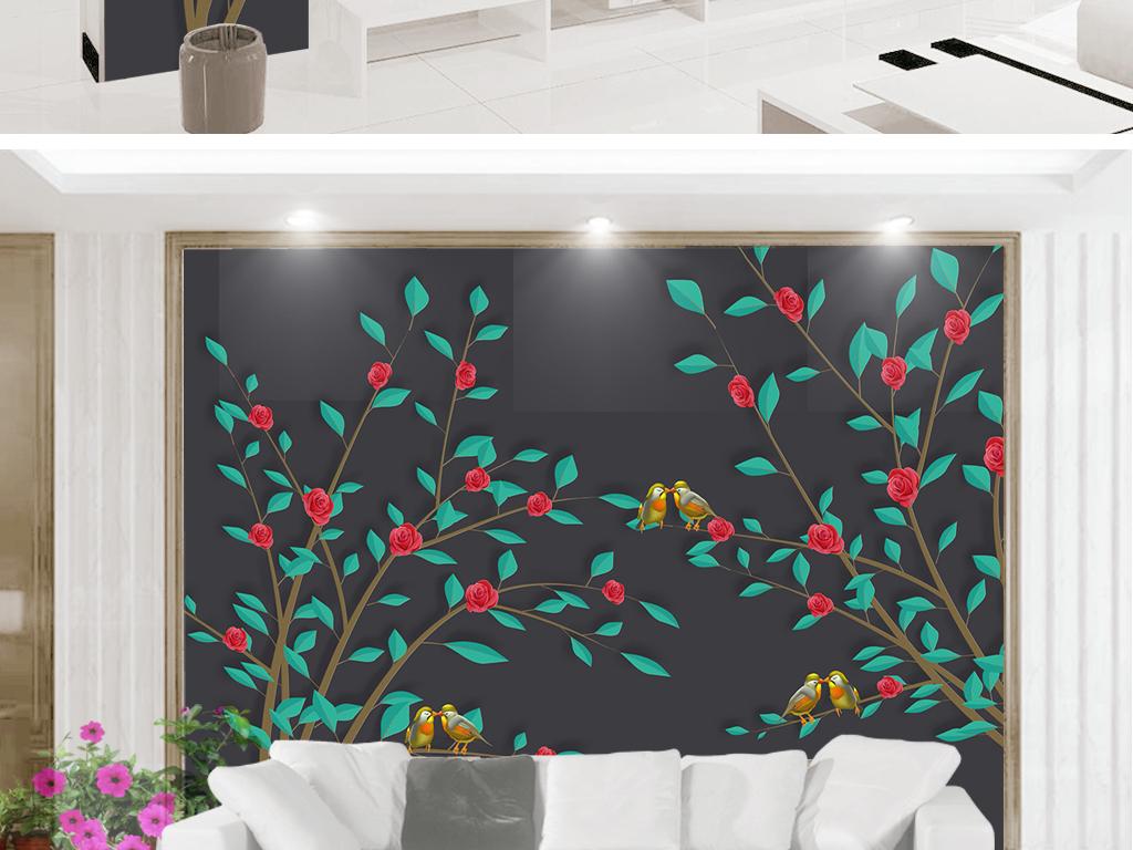 新中式简约小清新手绘花鸟工笔画爱情鸟壁画