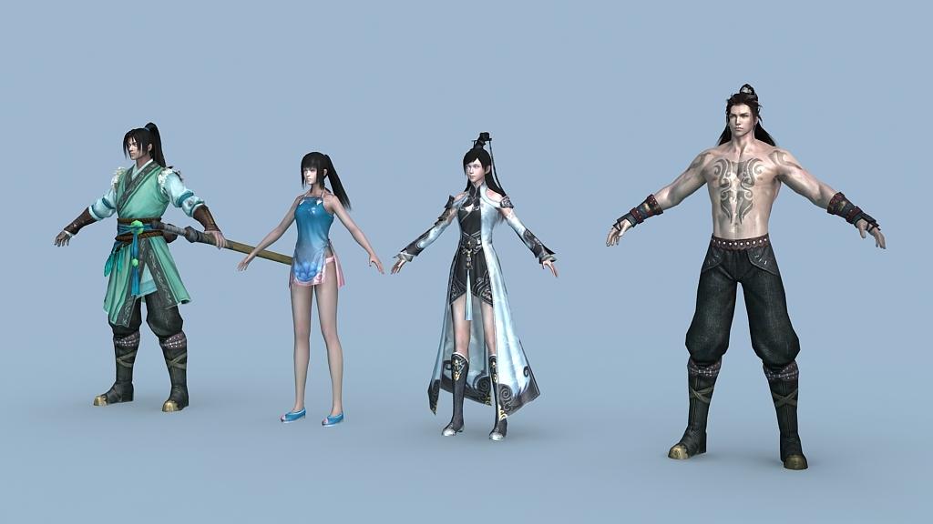 人物游戏人物模型动画角色人物角色动画人物角色骨骼动画明月刀人物