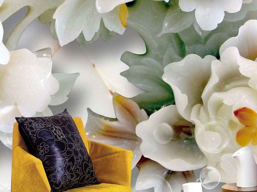 玉雕牡丹花玄关壁画