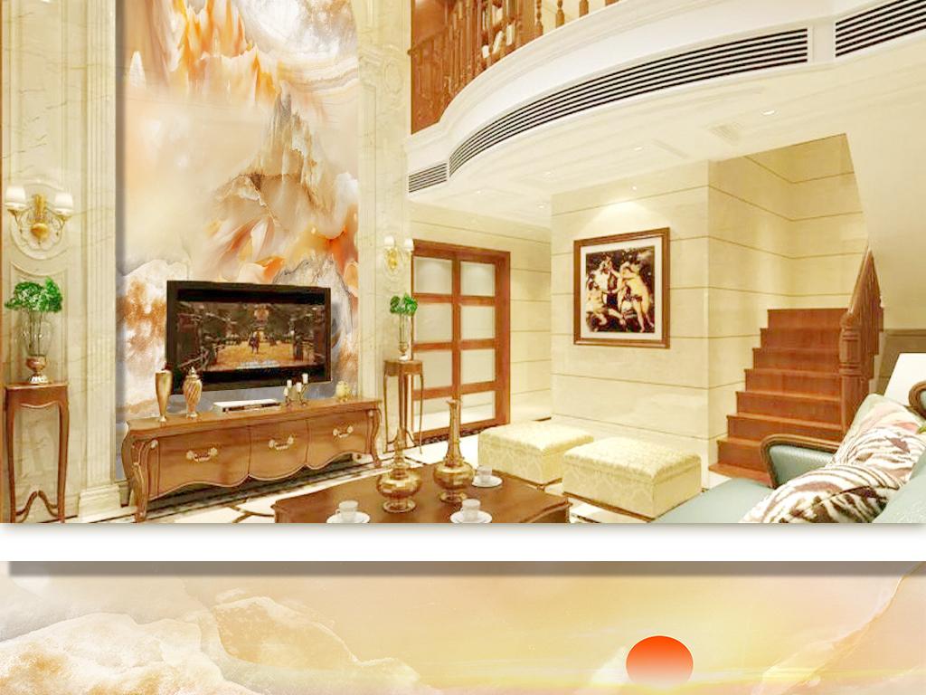 山水画复式楼层高清高档奢华大理石纹背景墙图片