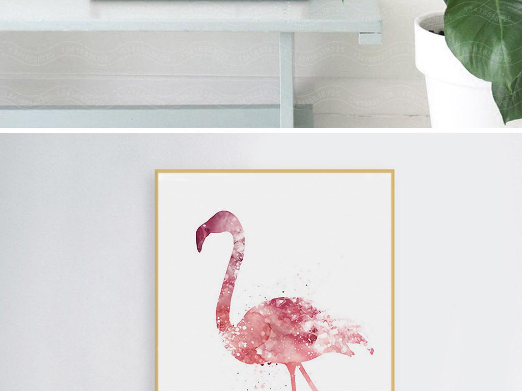 手绘小清新北欧装饰画水彩火烈鸟粉色无框画