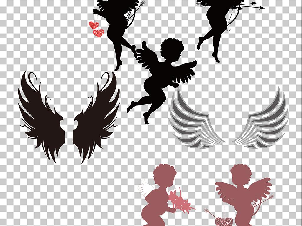 免抠元素 花纹边框 卡通手绘边框 > 翅膀小天使png透明背景素材  素材