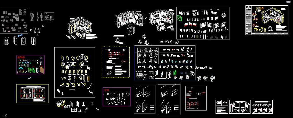 cad图库 建筑cad图纸 节点剖面图cad > cad厨房家具立体施工图橱柜
