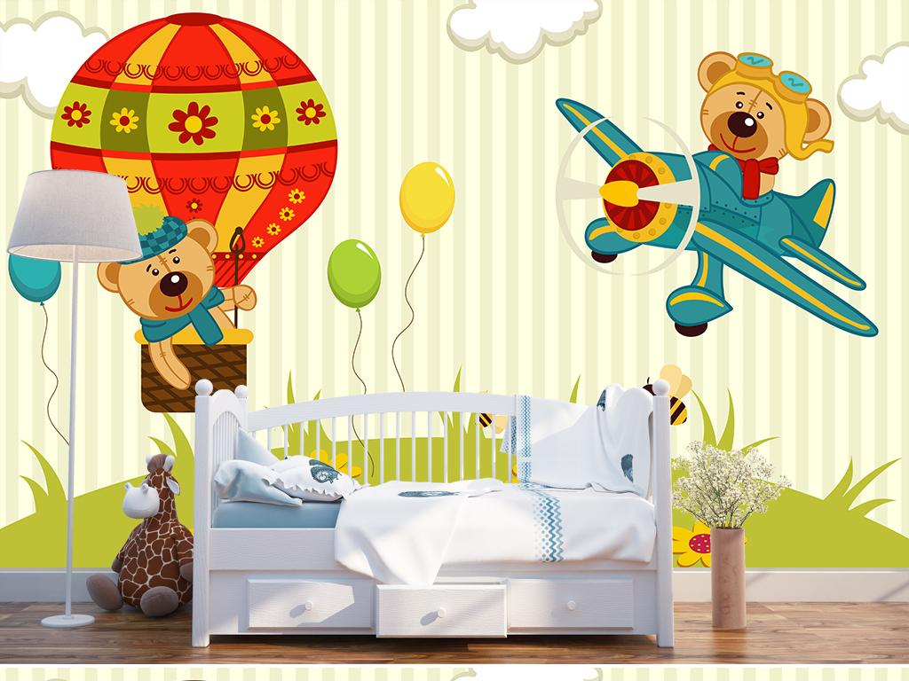 可爱卡通熊儿童房背景墙(图片编号:16753178)_儿童房图片