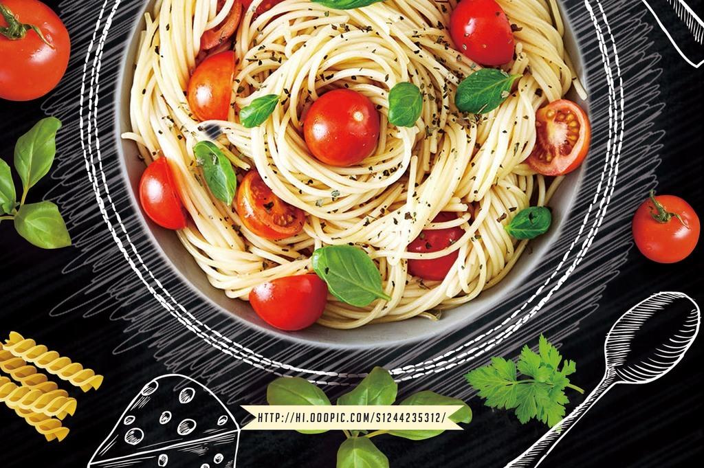 黑板粉笔手绘意大利面西餐厅餐饮美食海报