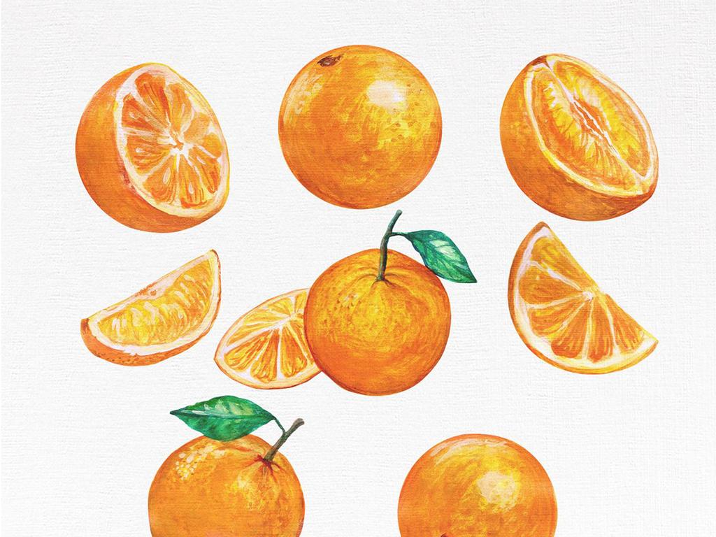 diy高清手绘水彩水果设计元素