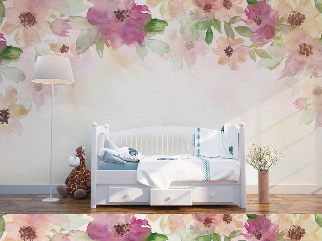 北欧水彩手绘浪漫温馨花朵客厅卧室背景墙