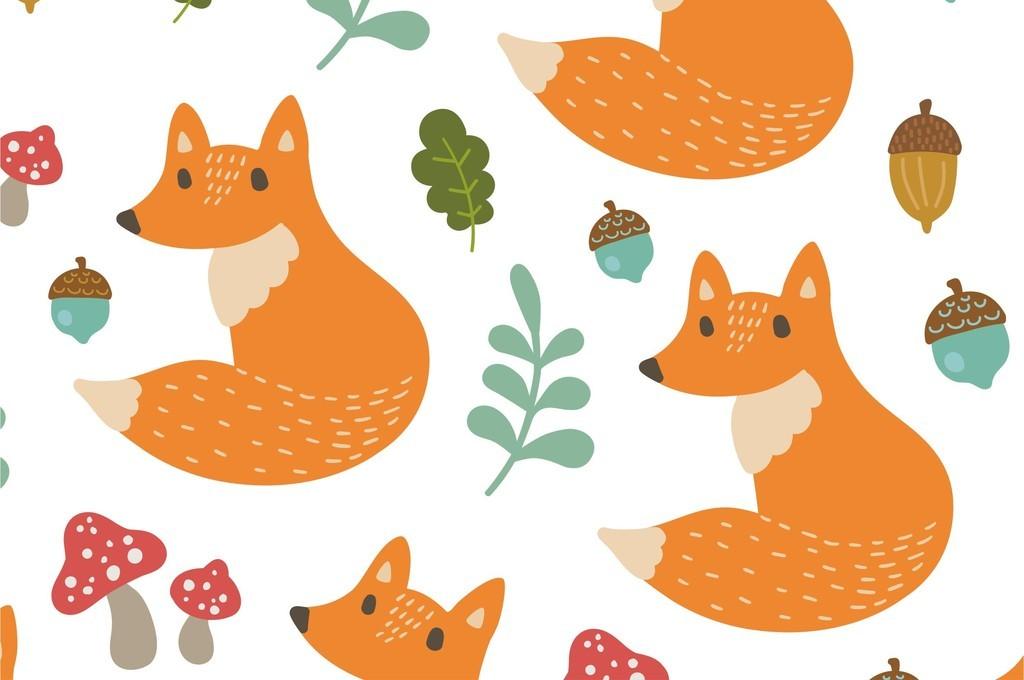 植物花卉叶子素材狐狸动物图案蘑菇印花