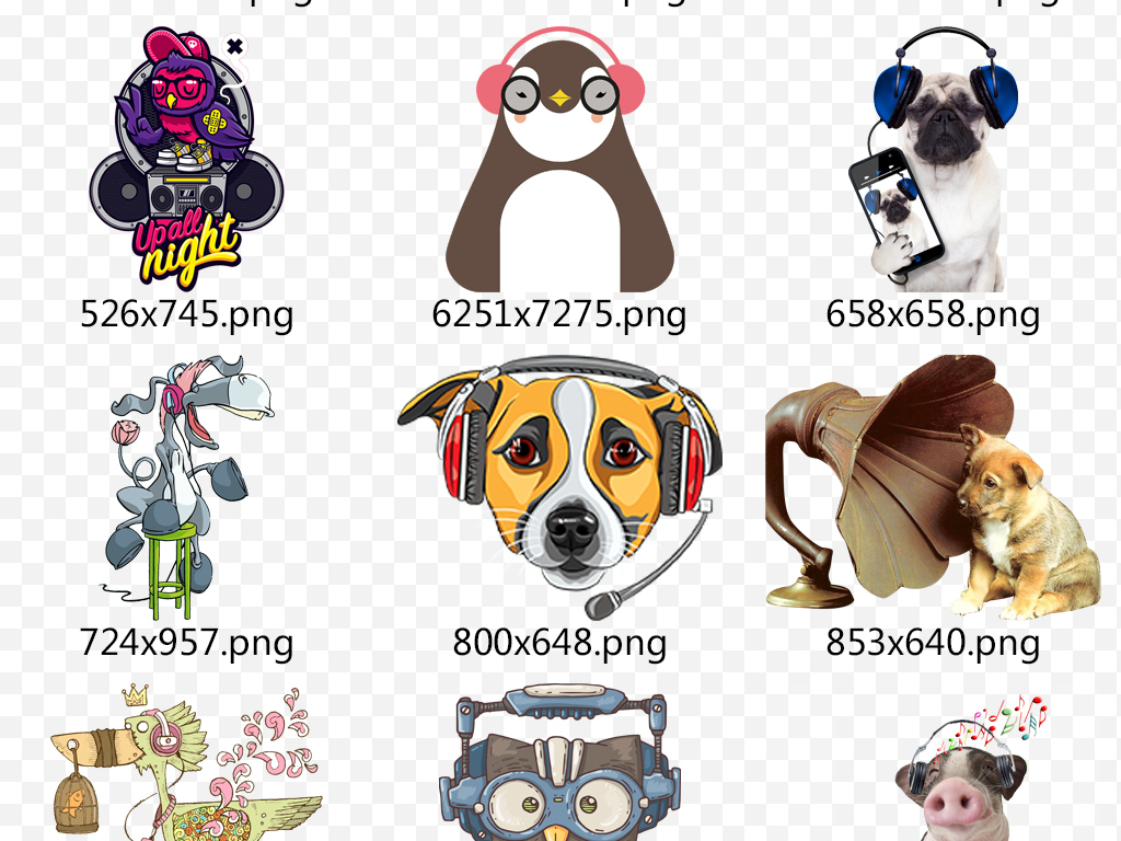 设计元素 自然素材 动物 > 卡通动物带耳机听音乐png素材下载  版权