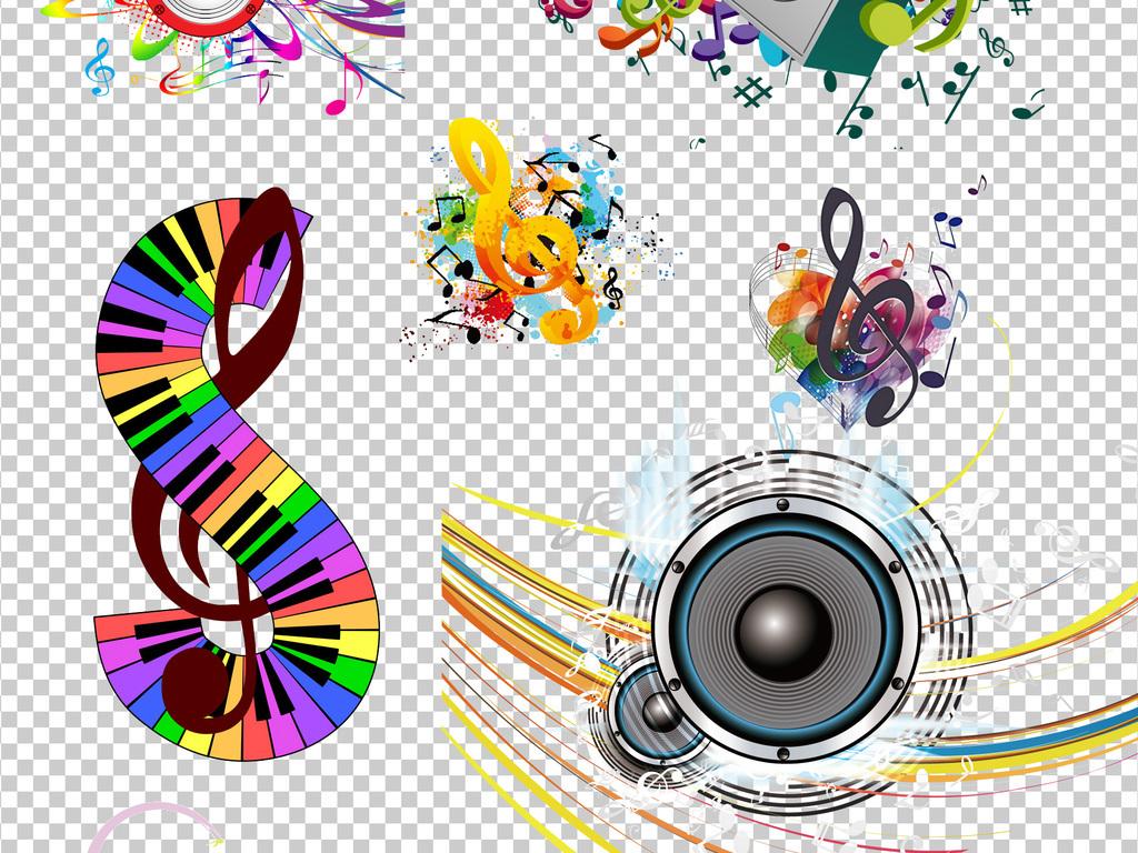 符立体音符乐谱耳机音符图案素材音符音乐背景png透明背景彩色彩色