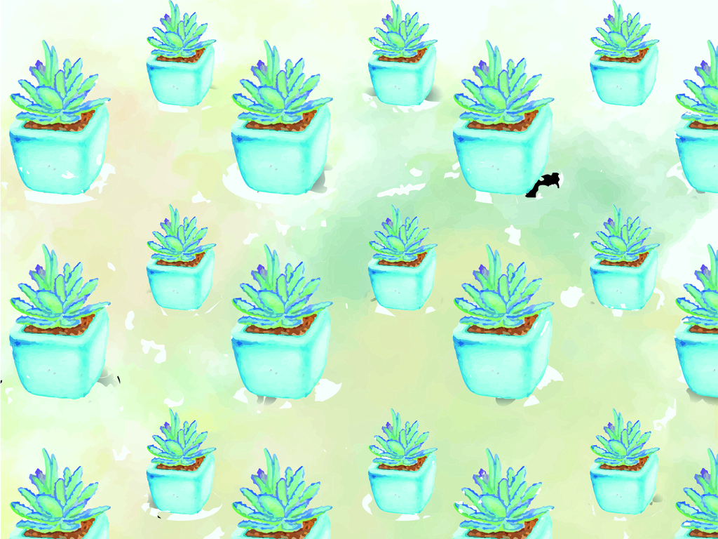手绘水彩效果盆栽植物花卉
