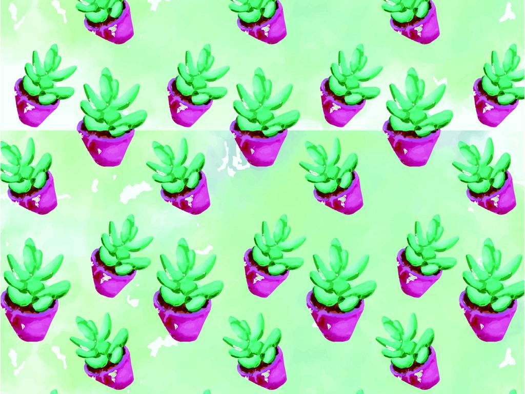 手绘水彩效果盆栽植物背景图案