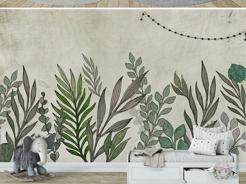 北欧简约复古手绘植物叶子背景墙