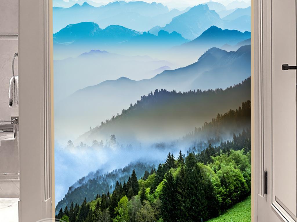 新中式禅意山水风景玄关过道壁画装饰画挂画图片