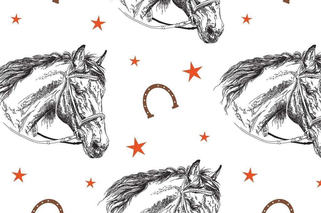 几何图形星星素材手绘动物图案马印花矢量图