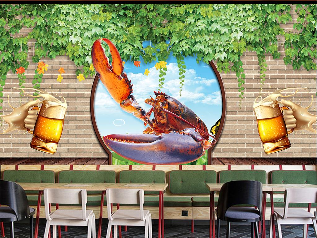 3d立体海鲜餐厅背景墙