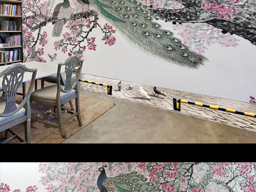 背景墙|装饰画 电视背景墙 中式电视背景墙 > 孔雀梅花3d立体珠宝背景