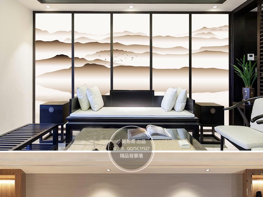 现代新中式意境水墨山水画客厅沙发背景墙