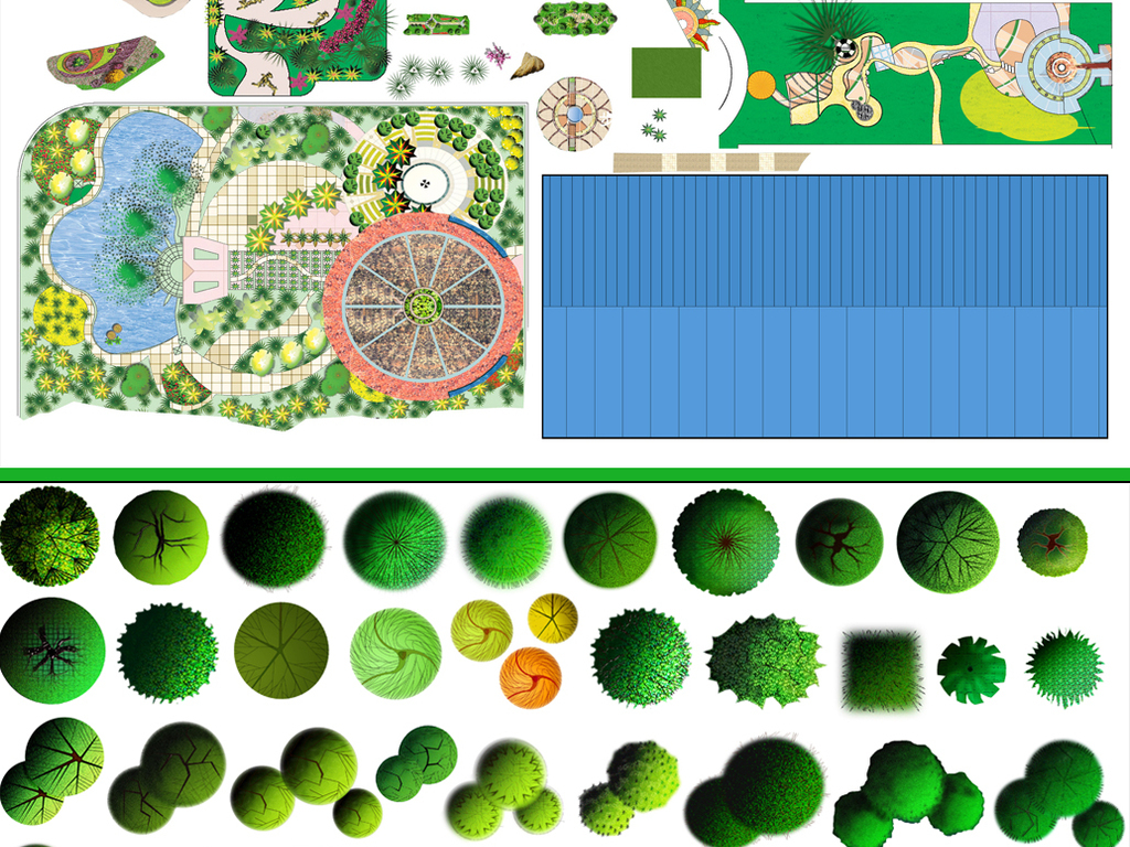 设计元素 自然素材 花卉 > 园林景观彩平图|园林景观后期psd分层素材