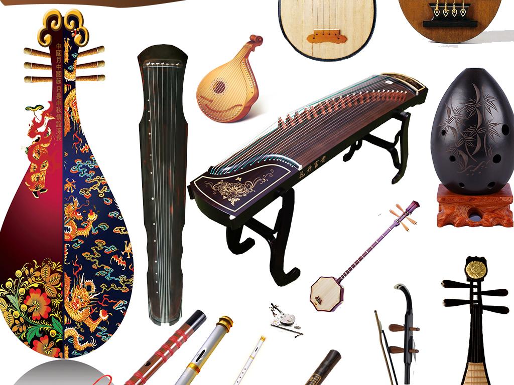 免抠元素 花纹边框 中国风边框 > 复古古典元素素材古筝古琴中国艺术p图片