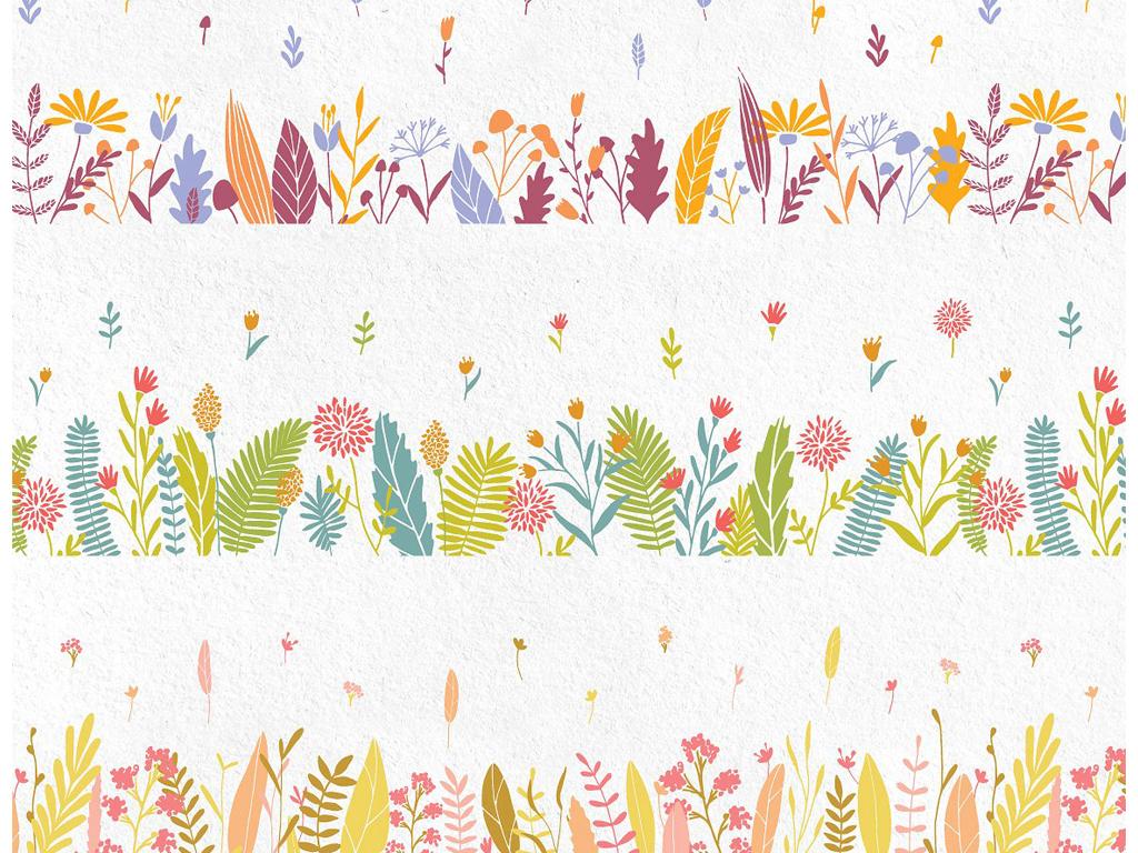 唯美手绘堆花花束花边png 矢量请帖海报相册设计素材