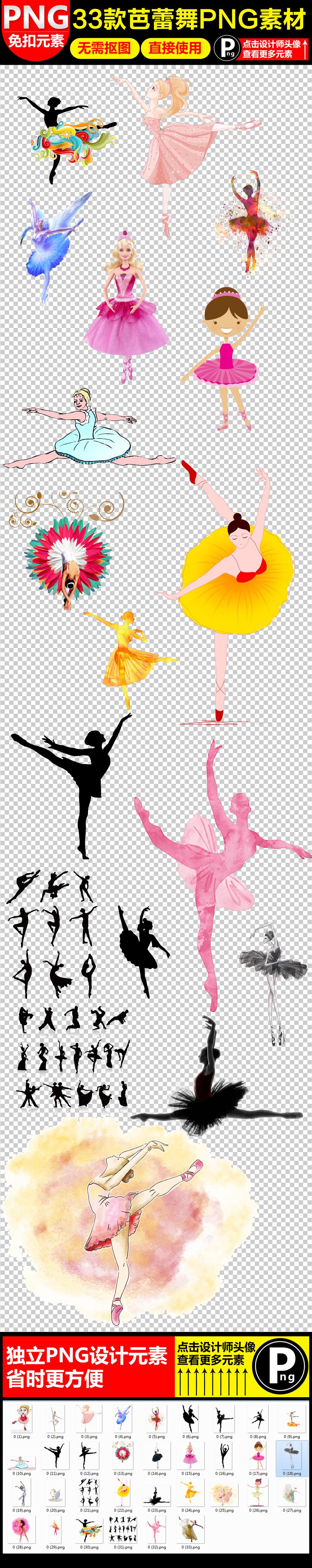 手绘水彩芭蕾舞者png透明背景免扣素材