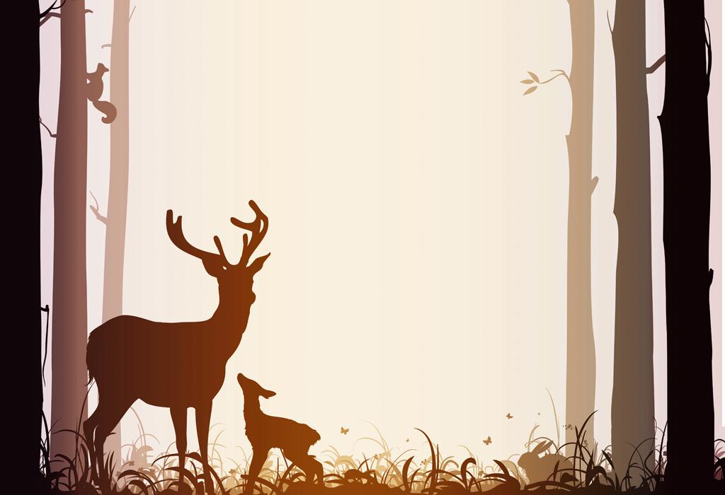 背景墙|装饰画 无框画 动物图案无框画 > 现代简约无框画麋鹿森林房子