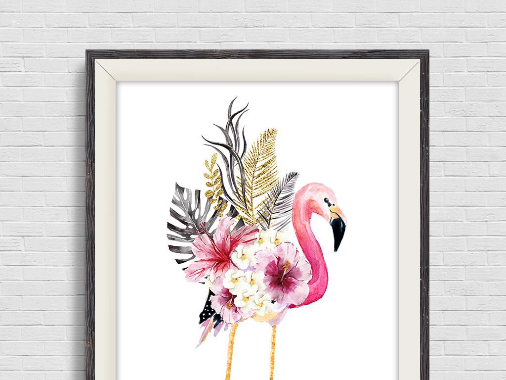 北欧水彩手绘火烈鸟植物装饰画无框画三联画