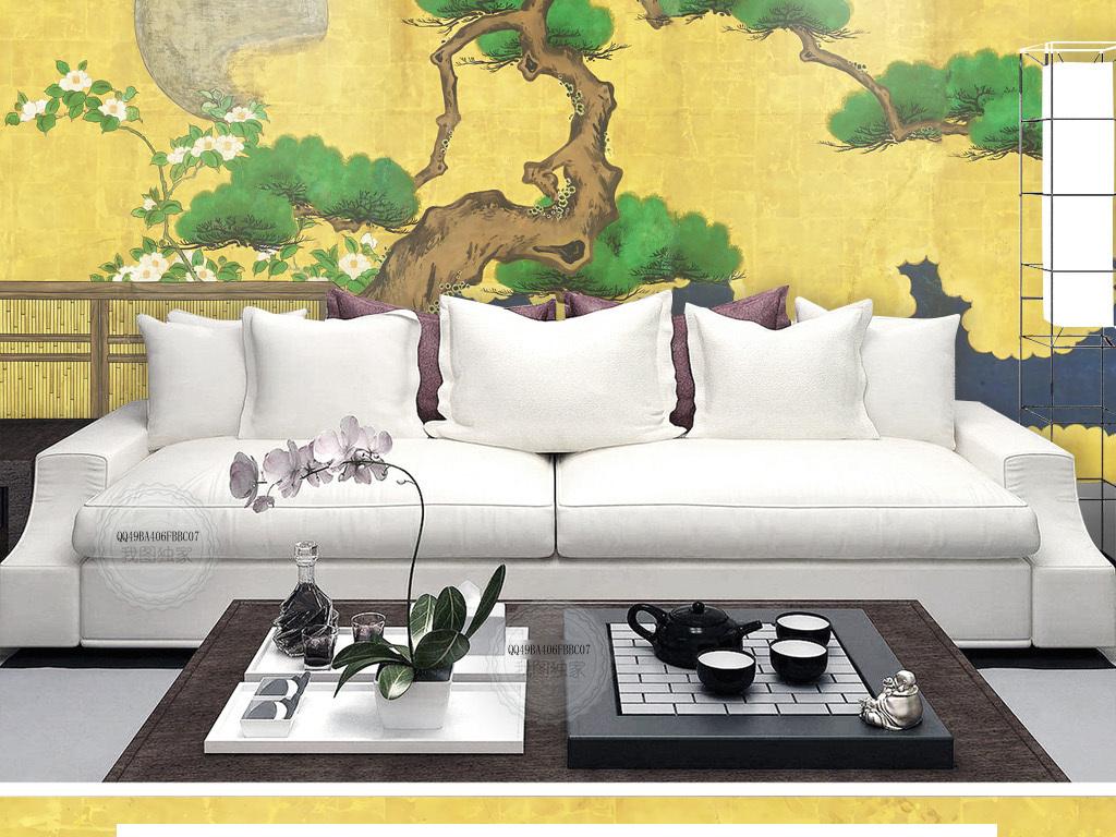 松鹤延年新中式古典沙发背景墙图片