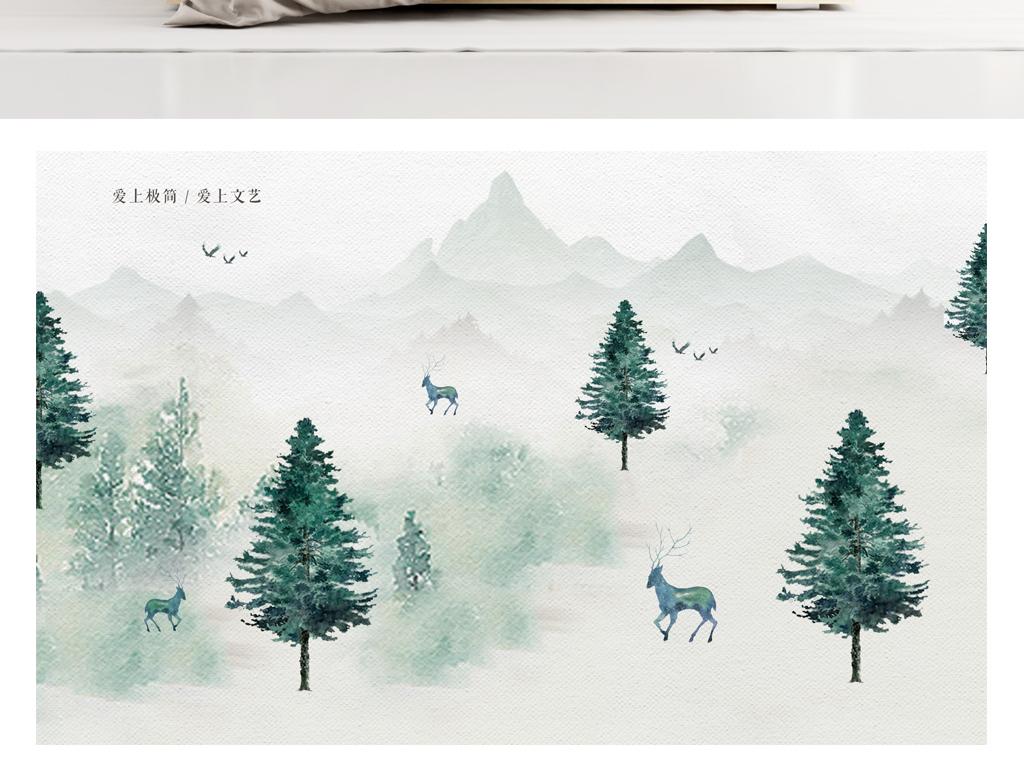 手绘麋鹿森林背景墙装饰画