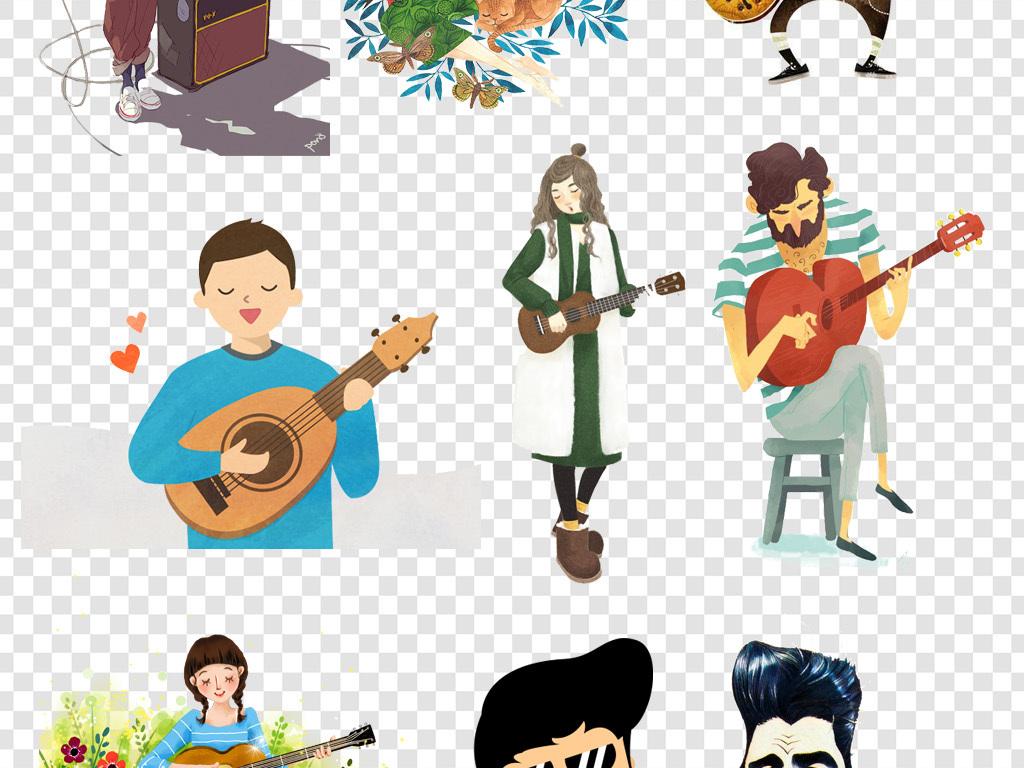 卡通手绘弹吉他图片png海报素材