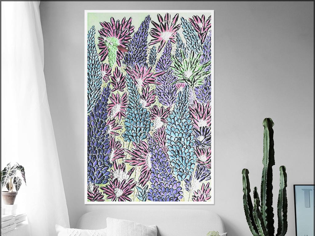 北欧手绘小清新水彩植物装饰画无框画