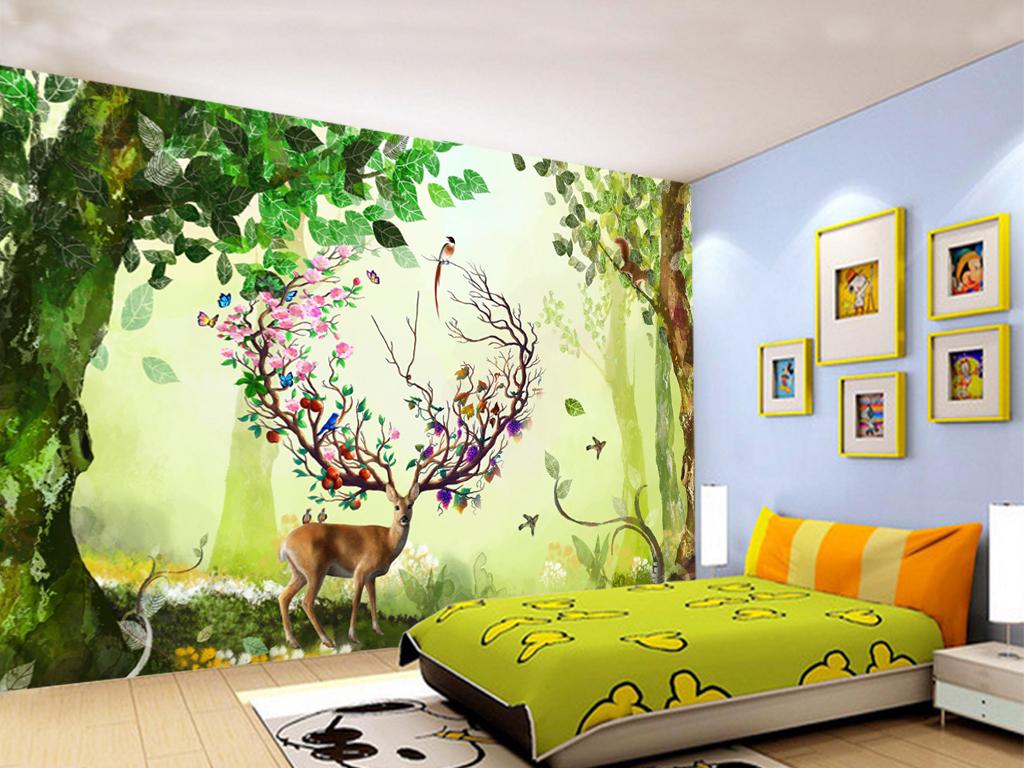 简约梦幻森林麋鹿电视背景墙装饰画
