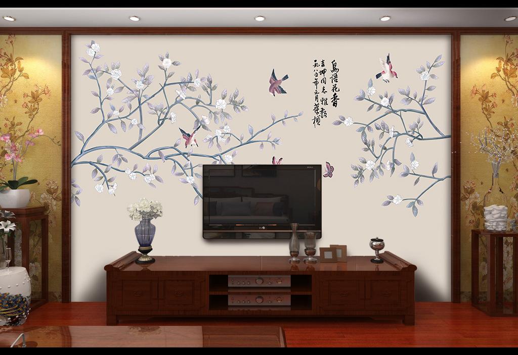 手绘背景墙树林花鸟图喜鹊现代中式文化墙壁画墙纸壁纸中式花鸟中式