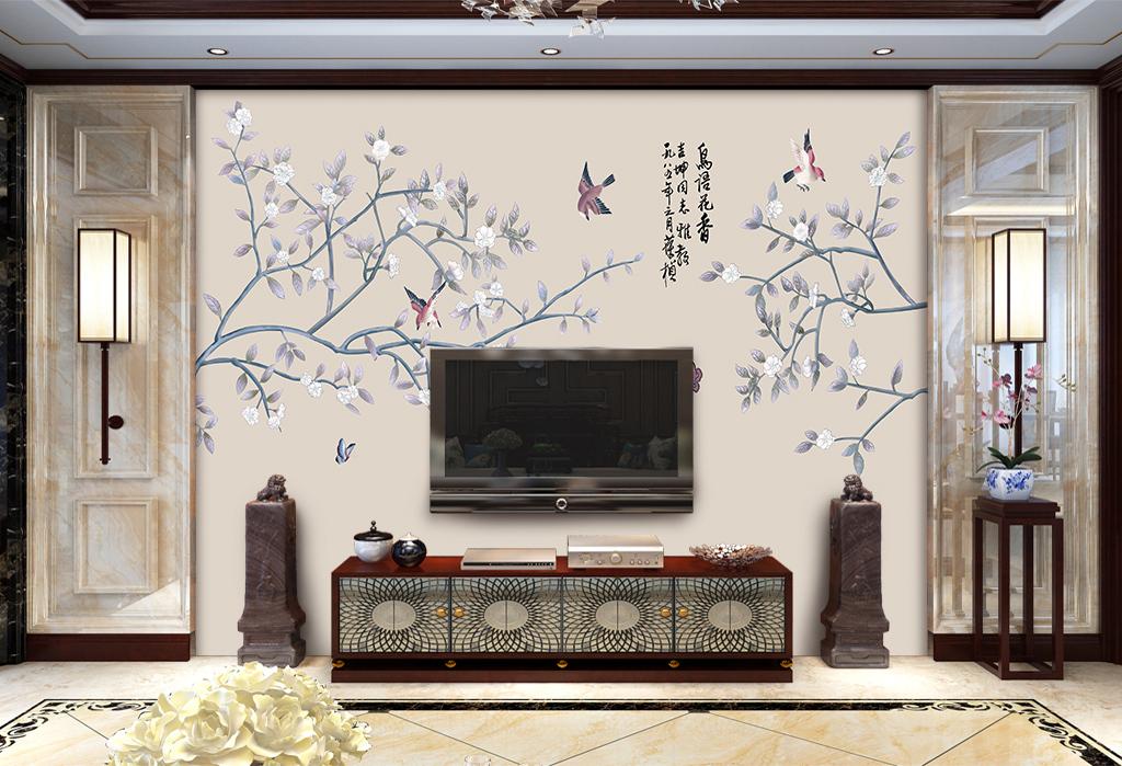 背景墙|装饰画 电视背景墙 中式电视背景墙 > 手绘花鸟新中式背景墙装