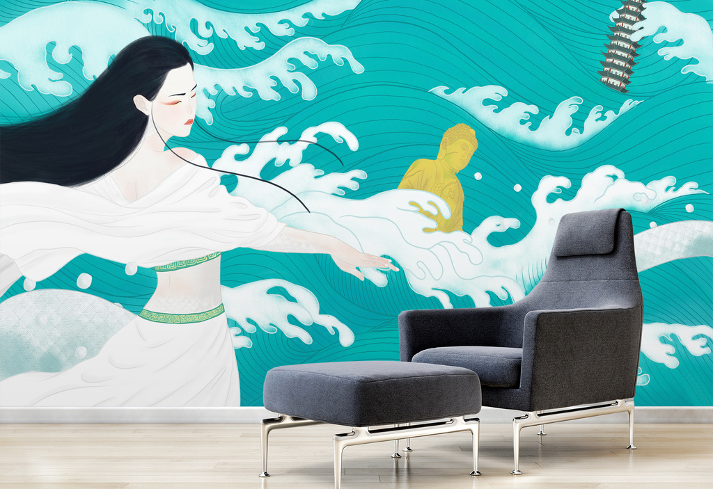 手绘美女海浪背景墙装饰画