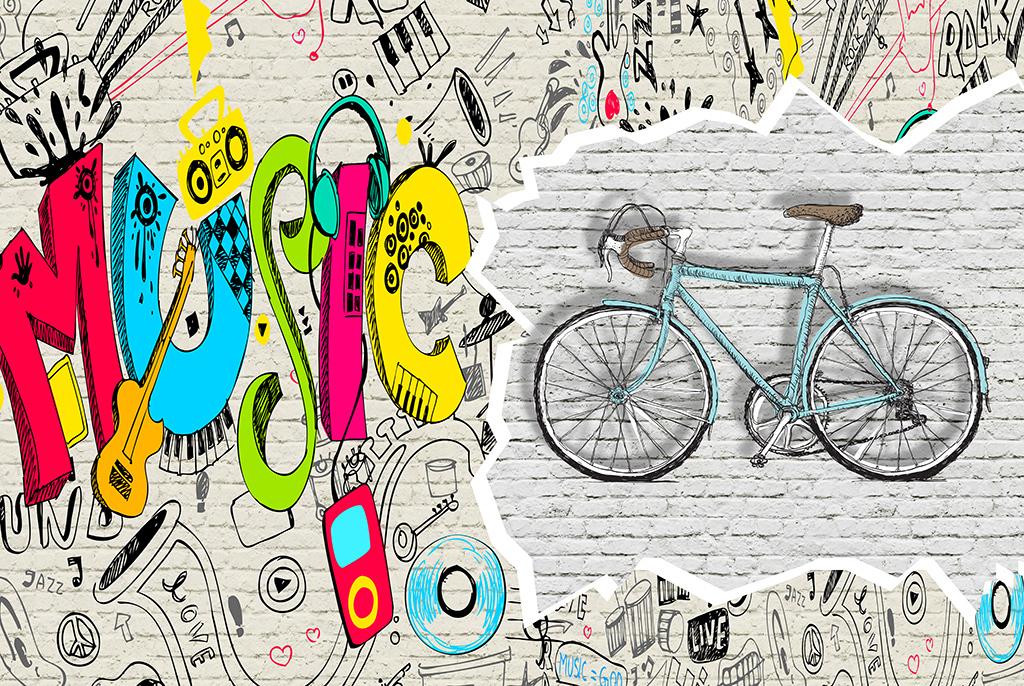 tif分层)手绘英文涂鸦墙淡黄色复古墙怀旧自行车墙