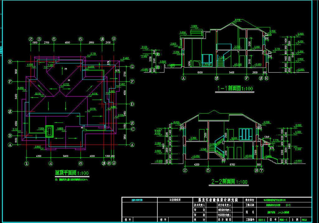 建筑设计 cad图纸  别墅图纸 > 独栋别墅cad施工图  版权图片 分享