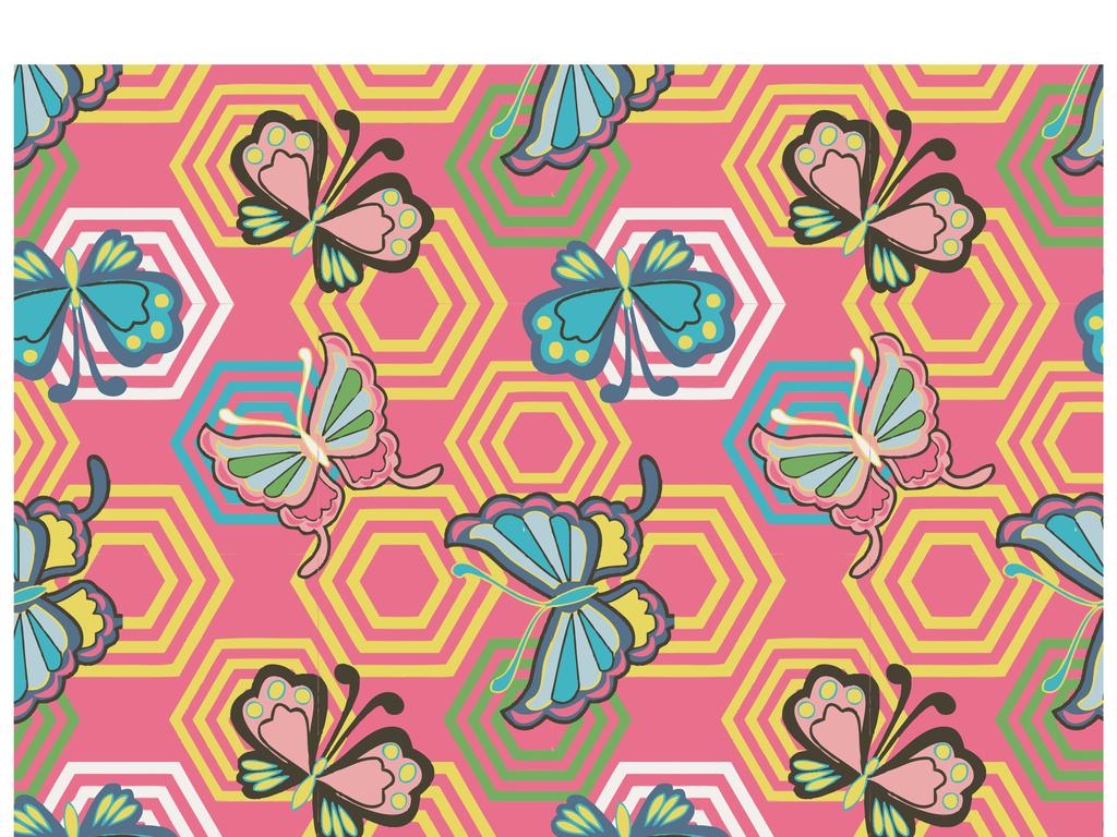 产品图案设计 服装/配饰印花图案 动物图案 > 几何六边形图案花蝴蝶