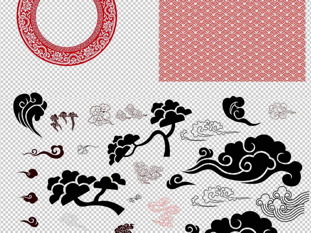 设计元素 背景素材 其他 > 古风祥云中式边框条纹高清素材  版权图片图片