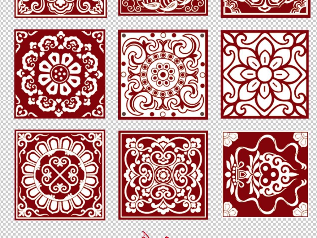 窗花剪纸红色中国风窗新中式花纹