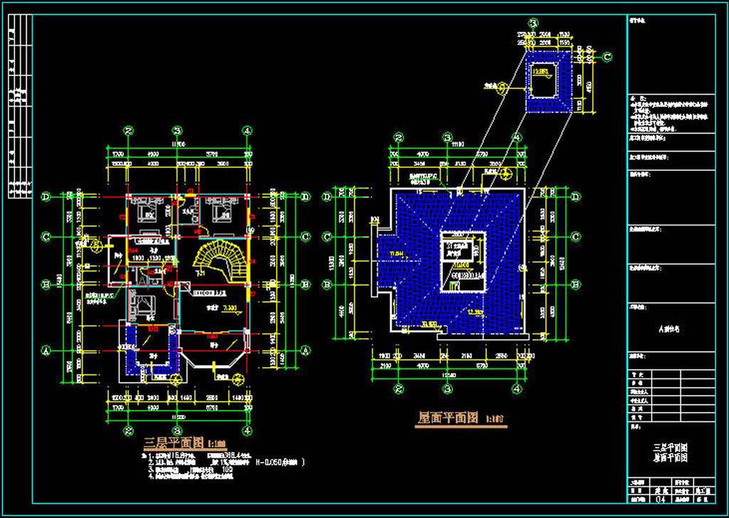 建筑设计 cad图纸  别墅图纸 > 三层豪华别墅cad施工图  版权图片