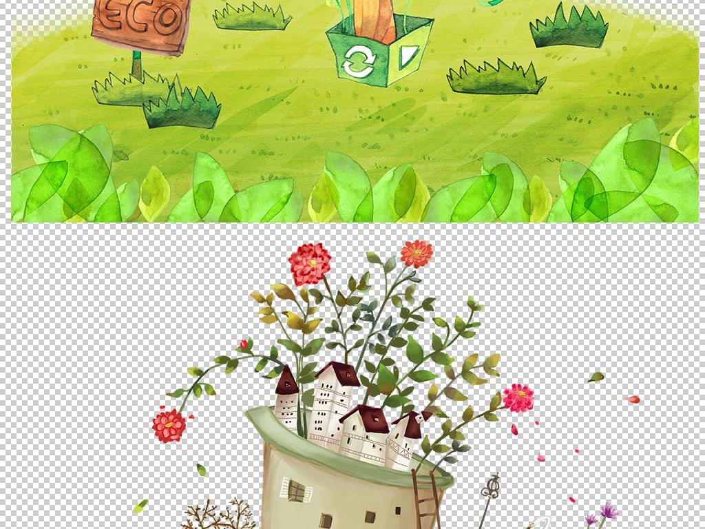 风景手绘水彩风景水彩手绘树木彩色花草树木树木剪影彩色墨迹树木彩色