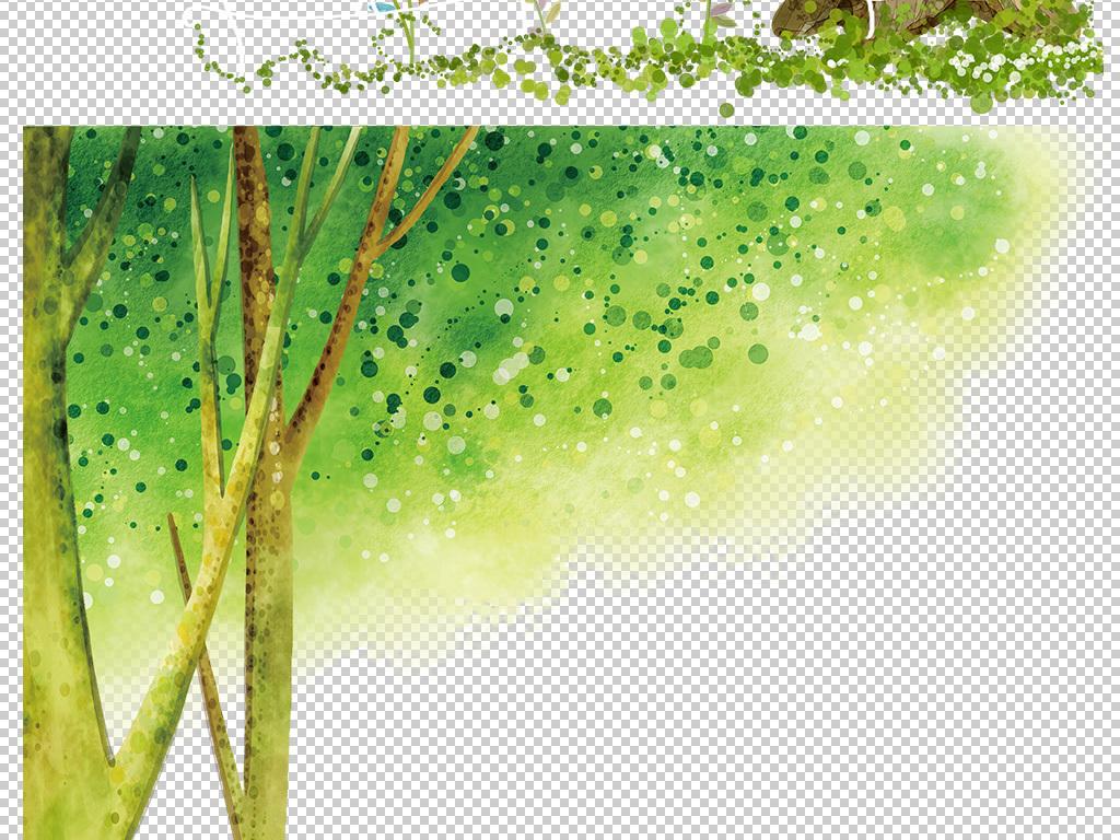 桃花树树木png免抠树木png树绿色风景风景插画水彩手绘水彩场景手绘插