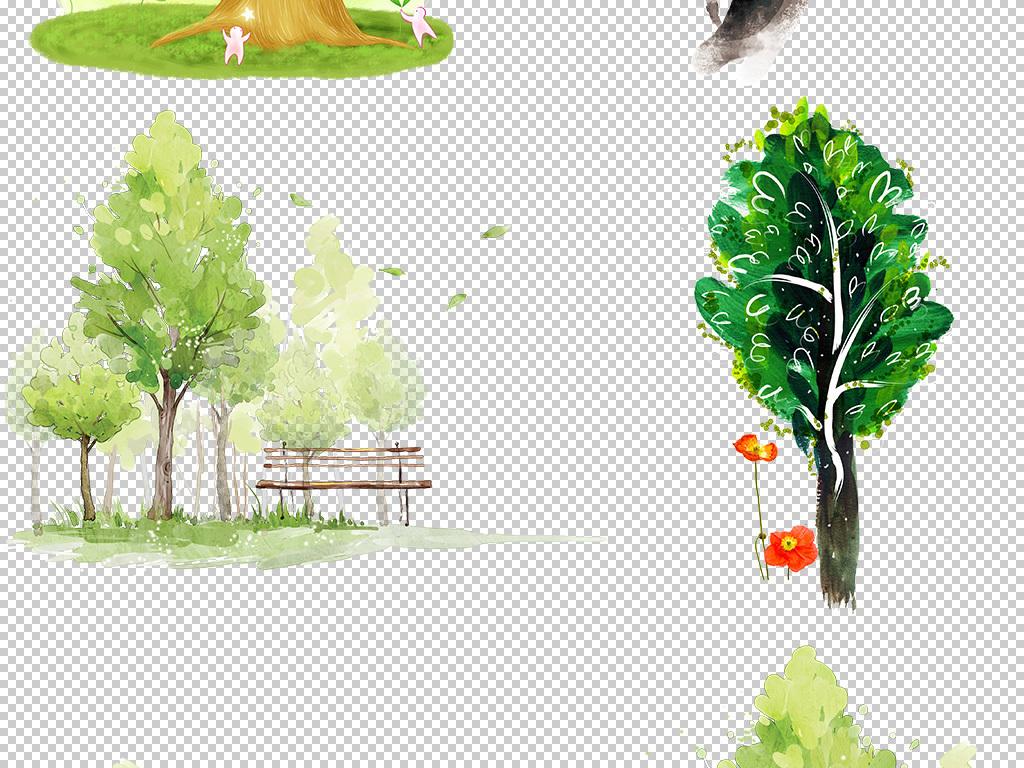 场景手绘插画风景插画手绘风景风景手绘水彩风景水彩手绘树木彩色花草