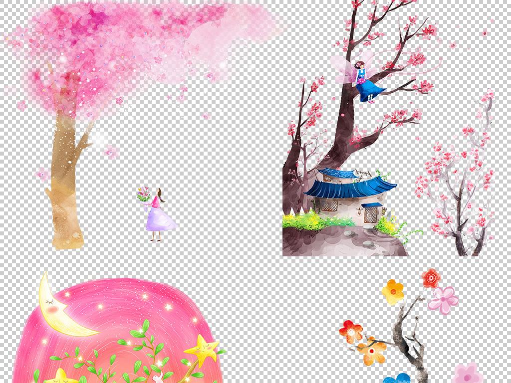 桃花树树木png免抠树木png树绿色风景风景插画水彩手绘水彩场景手绘