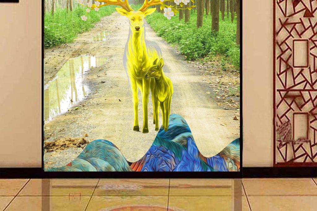梦幻森林麋鹿玄关背景墙酒店中式展览画