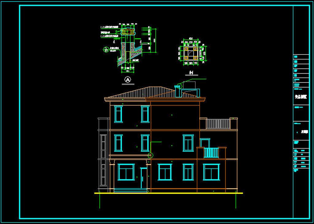 三层独栋豪华别墅cad施工图平面设计图下载(图片0.56)