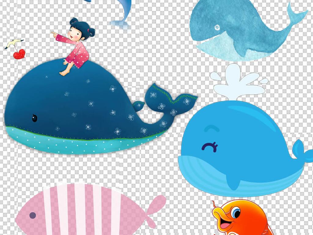 卡通鱼手绘小鱼夏季海报高清鱼类图片海洋